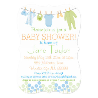 Blue and Green Little Clothes Baby Shower Card