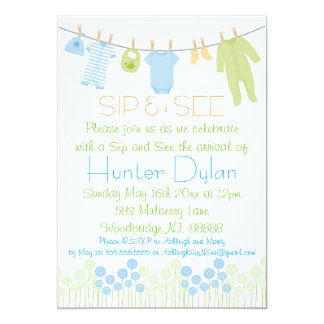 Blue and Green Little Clothes Sip and See Card