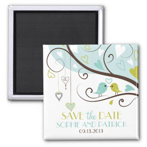 Blue and Green Lovebirds Save the Date Magnet