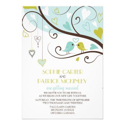 Blue and Green Lovebirds Wedding Invitation