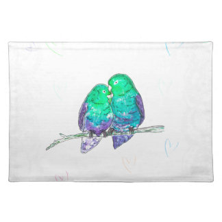 Blue and green lovebirds with lace watercolour cloth placemat