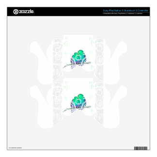 Blue and green lovebirds with lace watercolour skins for PS3 controllers