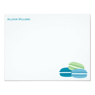 Blue and Green Macarons Thank You Notes Card