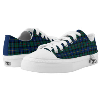 Blue and Green MacLeod of Skye Clan Tartan Canvas Printed Shoes
