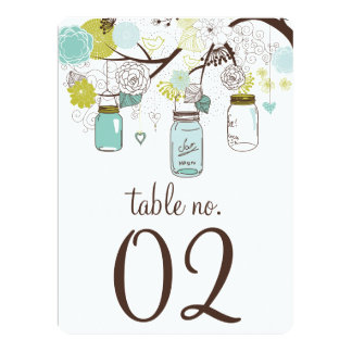 Blue and Green Mason Jars Table Numbers Card Invitations