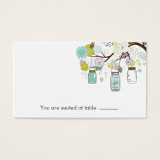 Blue And Green Mason Jars Table Place Holder Business Card at Zazzle