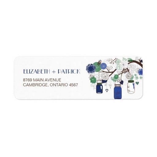 Blue and Green Mason Jars Wedding Address Label