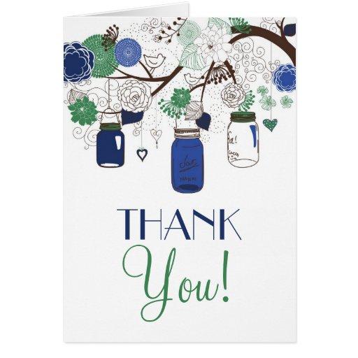 Blue and Green Mason Jars Wedding Thank You Card
