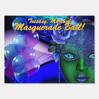Blue and Green  Masquerade Ball! Party Sign