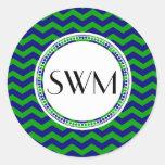 Blue and Green Monogram Chevron Personalized Sticker