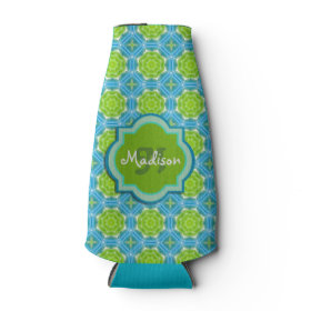 Blue and Green Monogram Mandala Pattern Bottle Cooler