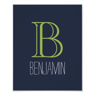 Blue and Green Monogram Poster