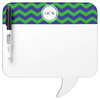 Blue and Green Monogrammed Initials Personalized Dry-Erase Board