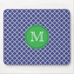 Blue and Green Monogrammed Mousepad