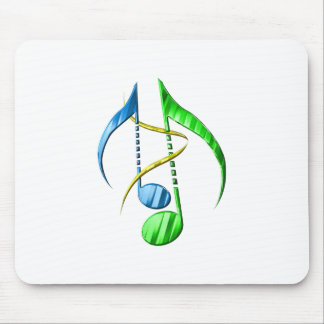 Blue and Green Music Notes Mouse Pad
