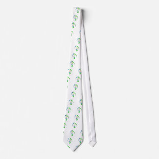 Blue and Green Music Notes Neck Tie