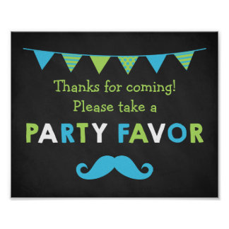 Blue and Green Mustache Chalkboard Party Favor Poster