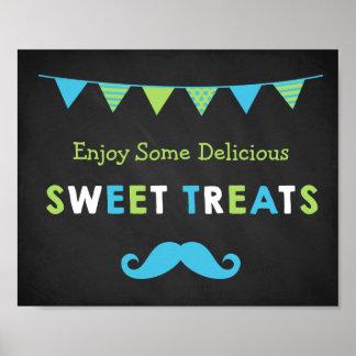 Blue and Green Mustache Chalkboard Sweet Treats Poster