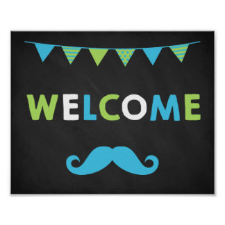 Blue and Green Mustache Chalkboard Welcome Signs