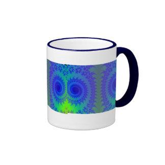 Blue and Green Neon Kaleidoscope Hippie Retro P... Coffee Mug