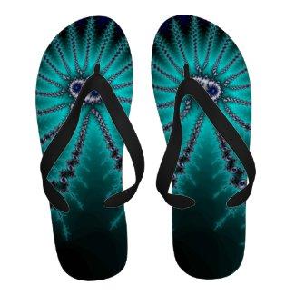 Blue and Green Octopus Fractal Flip-Flops