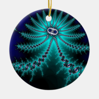 Blue and Green Octopus Fractal Double-Sided Ceramic Round Christmas Ornament
