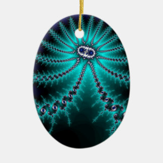 Blue and Green Octopus Fractal Double-Sided Oval Ceramic Christmas Ornament