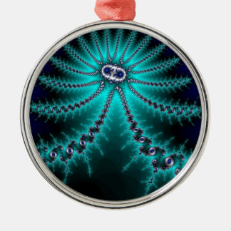 Blue and Green Octopus Fractal Round Metal Christmas Ornament