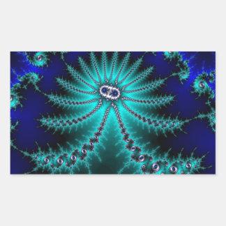 Blue and Green Octopus Fractal Rectangular Sticker