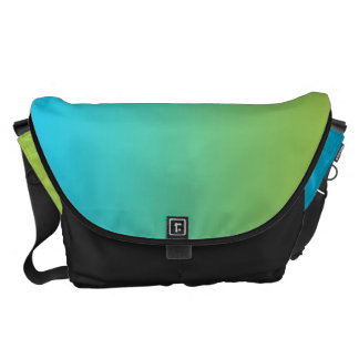 Blue And Green Ombre Large Courier Bag