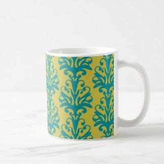 blue and green ornate damask fleur pattern classic white coffee mug