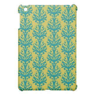 blue and green ornate damask fleur pern iPad mini cases