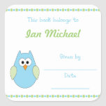 Blue and Green Owl Baby Boy Book Plate bookplates Square Stickers