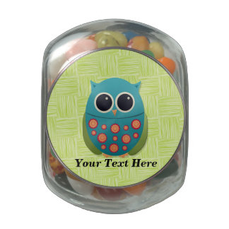 Blue and Green Owl Candy Jar Jelly Belly Candy Jars