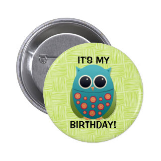 Blue and Green Owl on Green Birthday Button