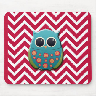 Blue and Green Owl on Red and White Chevron Mouse Pad