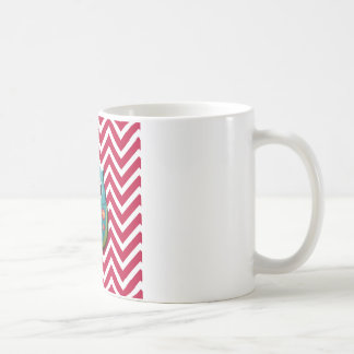 Blue and Green Owl on Red and White Chevron Mug