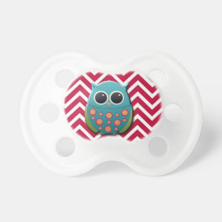 Blue and Green Owl on Red and White Chevron Pacifier