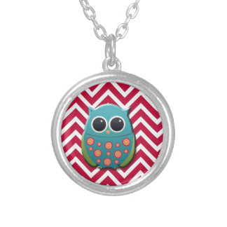 Blue and Green Owl on Red and White Chevron Silver Plated Necklace