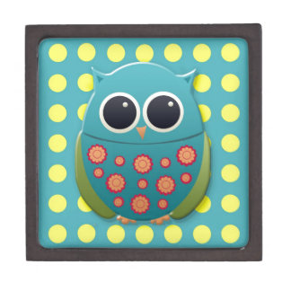 Blue and Green Owl on Yellow Polka Dots Jewelry Box