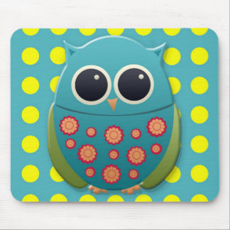 Blue and Green Owl on Yellow Polka Dots Mouse Pad