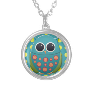 Blue and Green Owl on Yellow Polka Dots Silver Plated Necklace