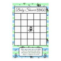 Blue and Green Owl Themed baby shower games Flyer