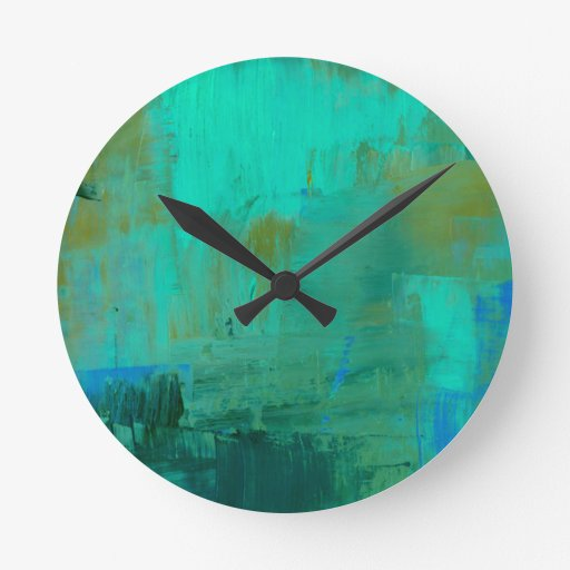 blue and green painting wall clock abstract art zazzle. Black Bedroom Furniture Sets. Home Design Ideas