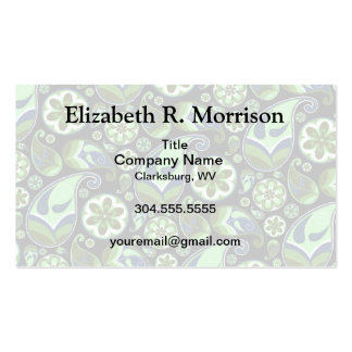 Blue and Green Paisley on Black Business Card Template