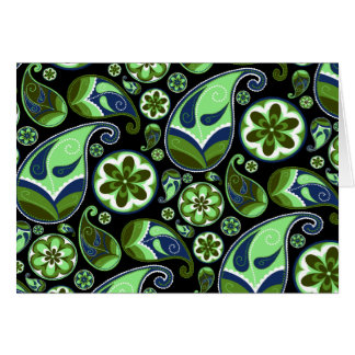 Blue and Green Paisley on Black Greeting Card