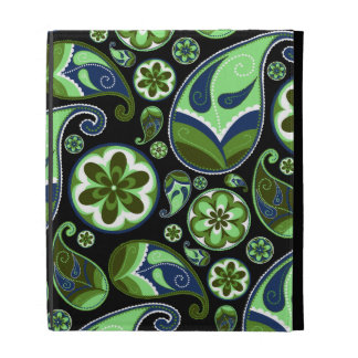 Blue and Green Paisley on Black iPad Cases