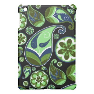Blue and Green Paisley on Black Case For The iPad Mini
