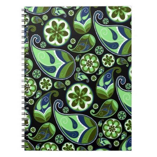 Blue and Green Paisley on Black Notebook