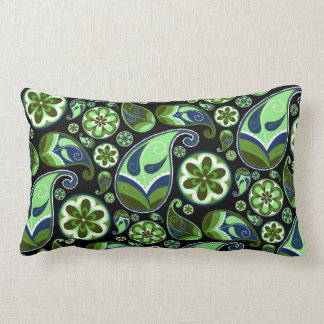 Blue and Green Paisley on Black Pillow